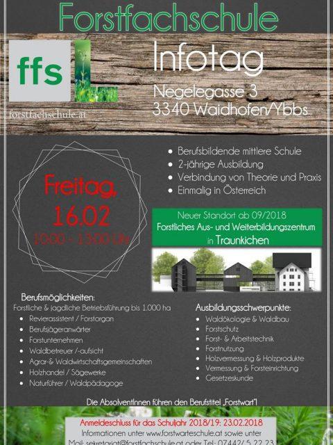 Programm des Infotags in der Forstfachschule Waidhofen/Ybbs am 16. Februar 2018