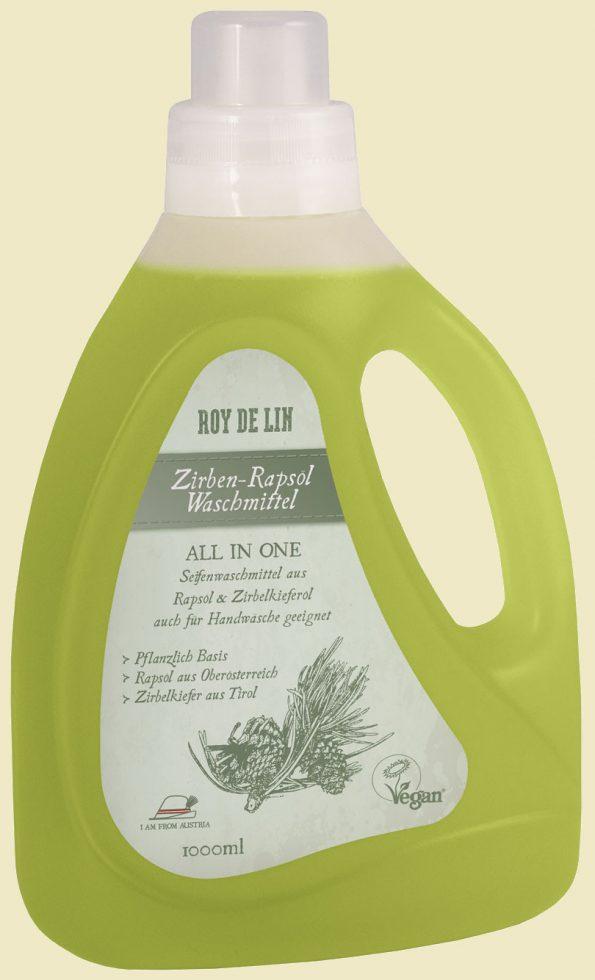 Bild einer Flasche mit grünlichem flüssigem Waschmittel, Roy de Lin mit Zirbenöl