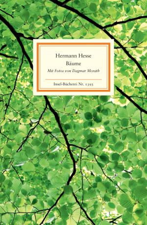 Buchcover mit Zweigen und gruenen Blaettern, Hermann Hesse: Baeume, Insel-Verlag