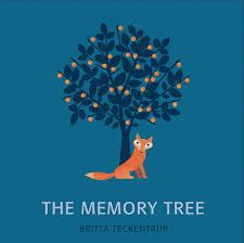"""Cover von """"The memory tree"""" von Britta Teckentrup. Blauer Untergrund, in der Mitte Fuchs und Baum."""
