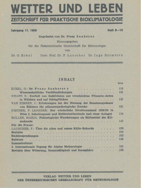 Cover der Zeitschrift Wetter und Leben