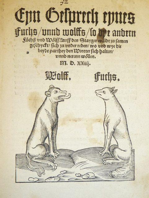 Titelblatt eines Drucks aus dem 16. Jahrhundert: Eyn Gesprech eynes Fuchs, vnnd wolffs