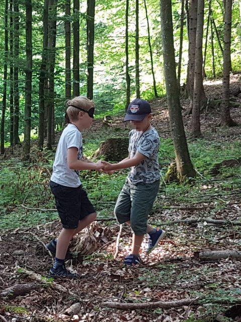 ein Kind führt ein Kind, das die Augen verbunden hat, durch den Wald